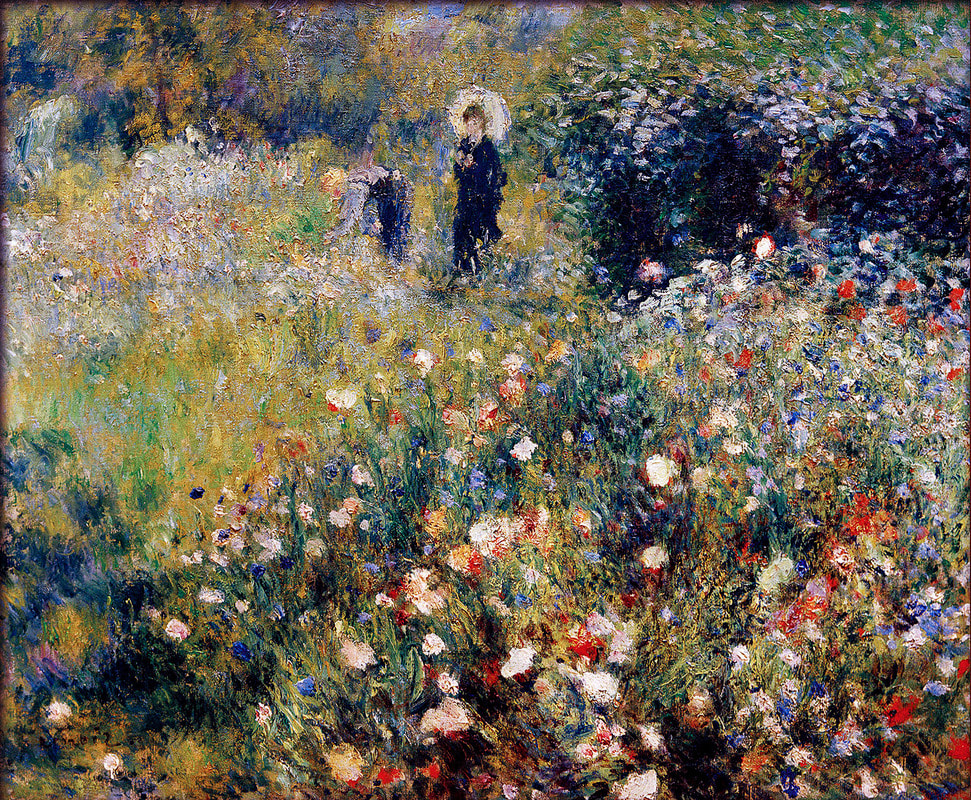Pierre-Auguste Renoir-summer landscape(aka woman with a parasol in a garden)1873