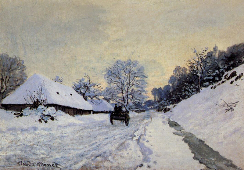 Claude Monet - Cart on the Snow Covered Road with Saint-Simeon Farm-2