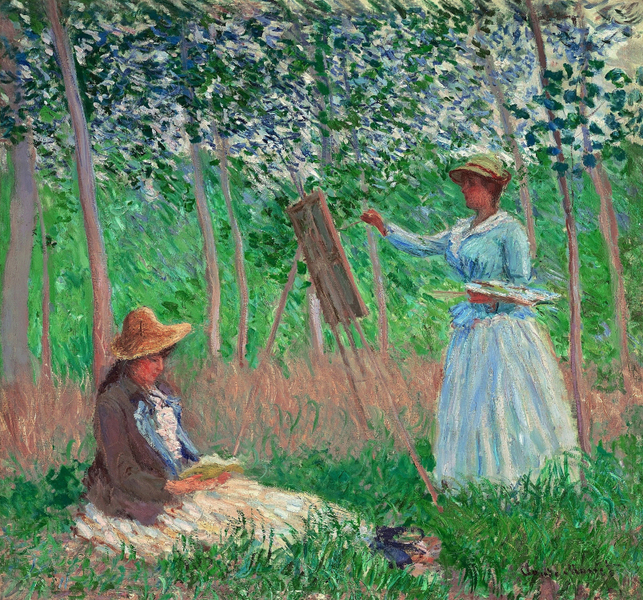 Claude Monet - In the Woods at Giverny- Blanche Hoschede at Her Easel with Suzanne Hoschede Readin