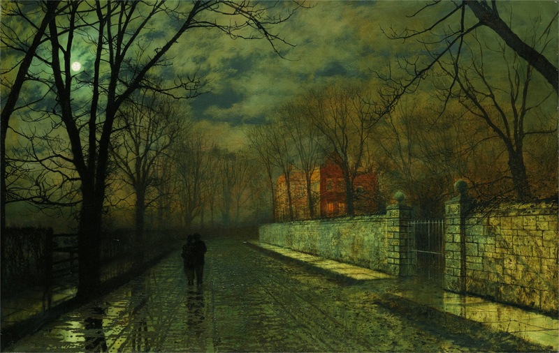 John Atkinson Grimshaw - FIGURES IN A MOONLIT LANE AFTER RAIN