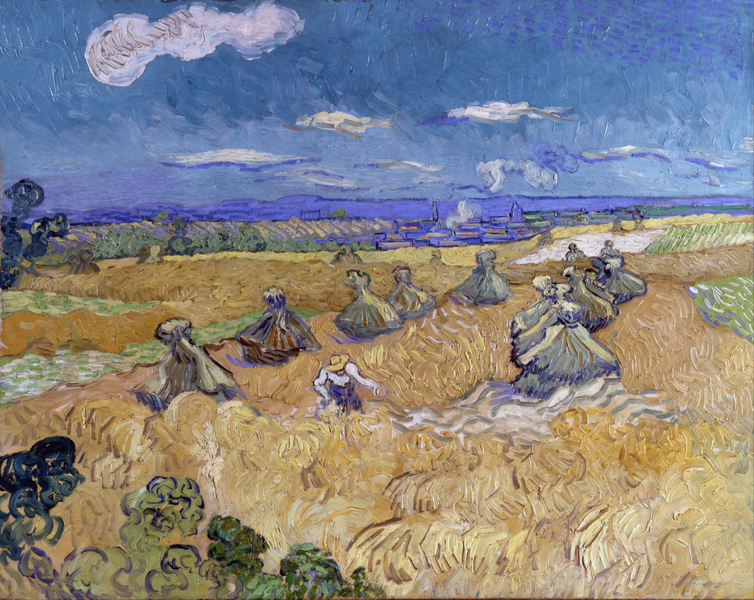 회전_Vincent van Gogh - Wheat Fields with Reaper, Auvers