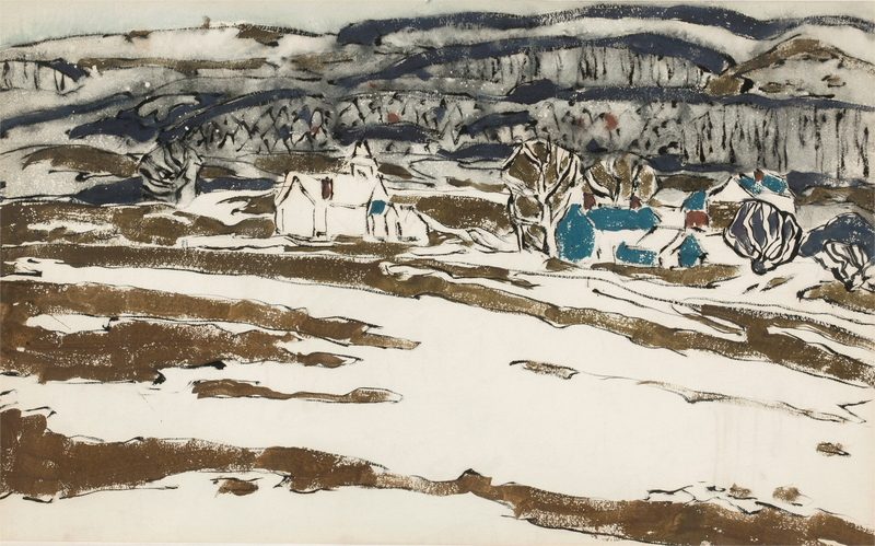 David Brown Milne - BLUE HILL (RECTO) AND TWO HOUSES WITH HILL IN GRAY WASH 1882–1953