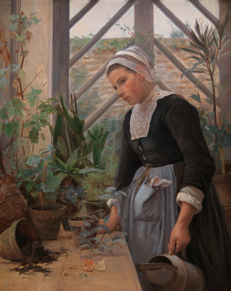 Anna Petersen - Breton Girl Looking After Plants in the Hothouse
