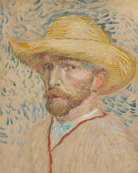 Vincent van Gogh -Self-Portrait with Straw Hat  40.9 cm x 32.8 cm