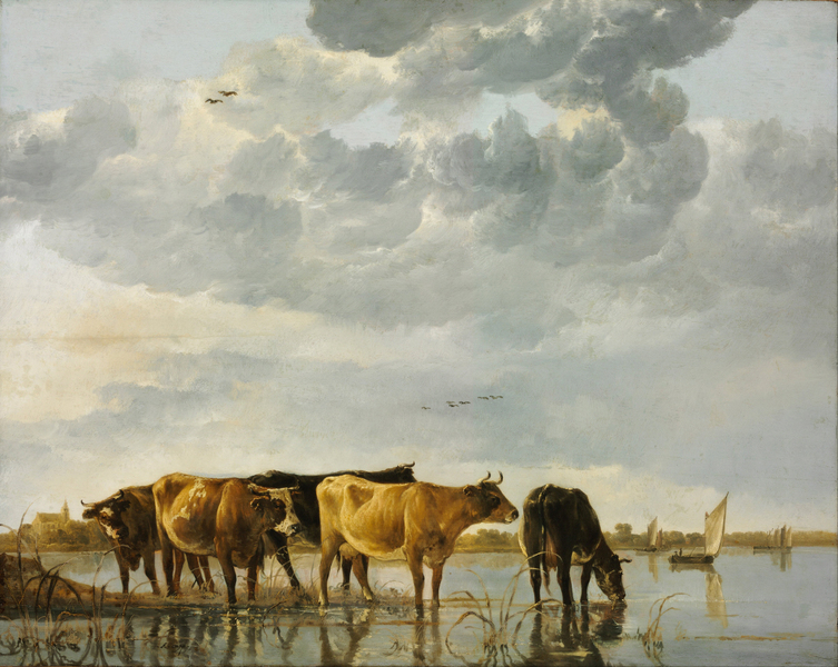 Aelbert Cuyp - Cows in a River