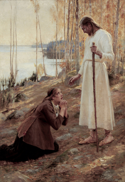 Albert Edelfelt - Christ and Mary Magdalene, a Finnish Legend