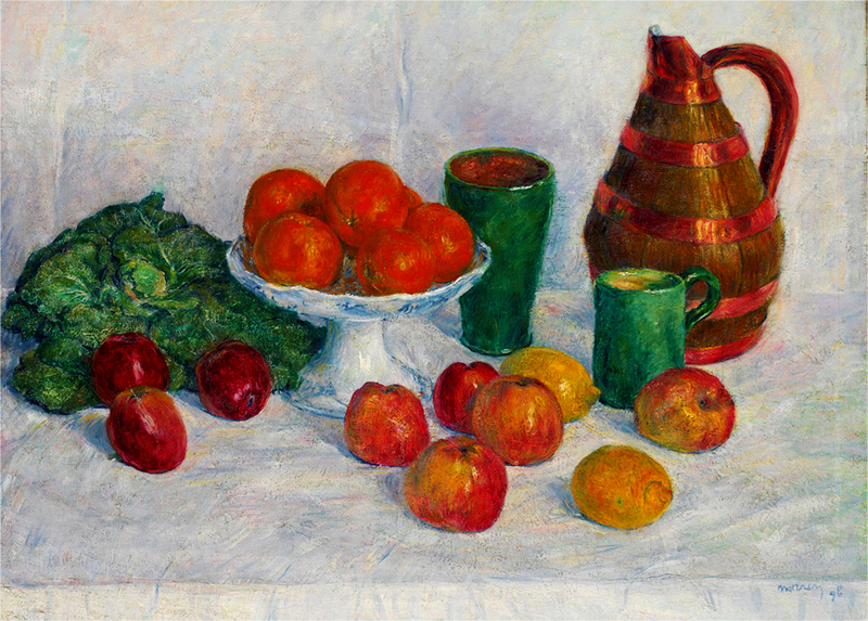 GEORGES MORREN -  Nature morte aux fruits et légumes