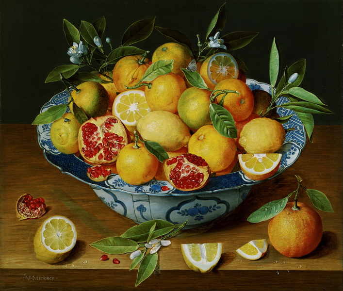 Jacob van Hulsdonck - Still Life with Lemons, Oranges and a Pomegranate