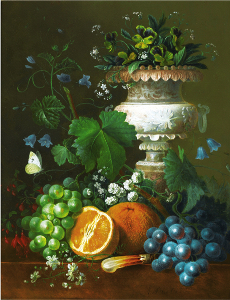 Maria Margrita van Os - A STILL LIFE WITH VIOLETS, GRAPES AND ORANGES ON A LEDGE