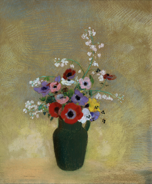 Odilon Redon - Large Green Vase with Mixed Flowers