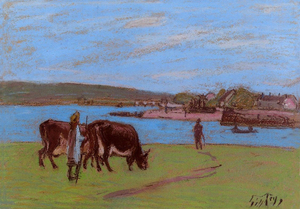 Alfred Sisley - Cows by the Seine at Saint-Mammes