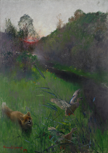 Bruno Liljefors - Afternoon landscape with fox and seabirds