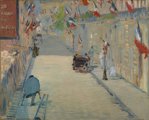 Edouard Manet - (French - The Rue Mosnier with Flags