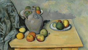 PAUL CÉZANNE - PICHET ET FRUITS SUR UNE TABLE