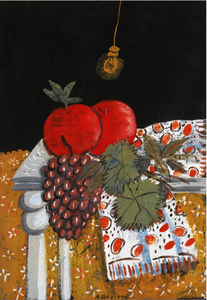 Alecos Fassianos - STILL LIFE WITH APPLES, GRAPES, AND A SCARF  B