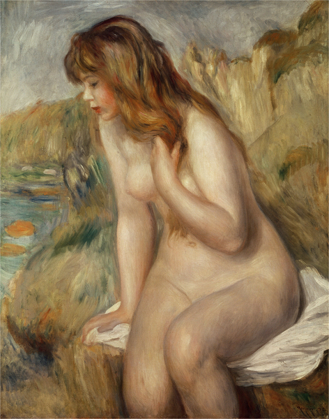Pierre-Auguste Renoir - Bather seated on a rock
